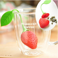 Wholesale 1 Cute silicone strawberry for tea bag hanging Tea infuser tea strainers filter tea tools Novelty household kitchen gadgets