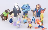 Wholesale Free DHL Movie Zootopia PVC Action Figures Toy Cartoon Utopia Mini Models Nick Fox Judy Rabbit Dolls Sets