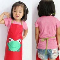 Wholesale Cute Kids Children Waterproof Aprons anti stain Apron Cartoon Frog Printed Painting Retail C2Y