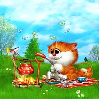 barbecue paint - Home Diy Diamond Painting Cat The Kitten is In a Barbecue Handwork Embroidery full Square Diamond Mosaic X30cm HWB