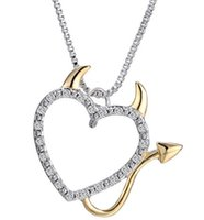 american accents - China factory supply high quality jewelry diamond accent gold silver heart angel devil horn pendant necklace mother daught necklace pendant