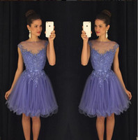 beautiful triangle - Lavender Beautiful Homecoming Dresses Jewel Sheer Neck With Applique Beading Prom Gowns Tiered Ruffles Knee Length Custom Made Party Dress