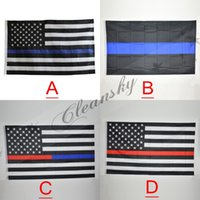 Wholesale Fedex DHL Free Blue Line USA Flags By Foot Thin Red Line US Flag Black White And Blue American Flag With Brass Grommets style M135
