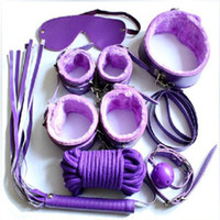 Cheap 2016 Adult Products 7 Pcs Sex Fetish bdsm Bondage Kit Hand Cuffs Footcuff Whip Gag Rope Collar Blindfold for Couples Erotic Toys