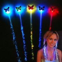 Wholesale LED Butterfly Flash Braid Colorful Luminous Braid Led Glow hair Braid Light Flash Hair Clips Light Up Party Halloween Night Xmas Decor D66