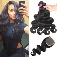 Wholesale Top a Brazilian Body Wave Elites Hair Bundles With Lace Closure Brazilian Hair Extension Weft Remy Human Hair Body Wave Weaves Closure