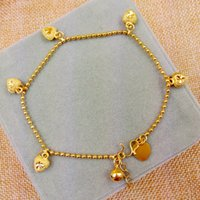 al por mayor bebé lleno de oro-Moda para niños de los bebés 18K Gold Filled Cadena de corazón encantador de Jingle Bell encanto de la bola de la joyería de la pulsera / pulseras para el tobillo nuevo oro