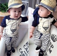 animal brand lion - 2016 sets Casual Toddler Baby Boys Cute Lion cartoon T shirt Long stripe Harem Pants Outfits sets T