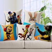 animal cops - 15 Styles Zootopia Animals City Cushion Covers Cop Bunny Judy Fox Nick Print Pillowcase Sofa Throw Decorative Linen Cotton Pillow Cover