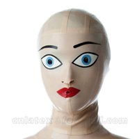 Wholesale Women Latex Hood Handmade Natural Lady Mask Open Holes Headgear Zentai Sexy Latex Cosumes LM067
