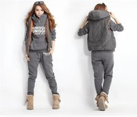 Wholesale Winter casual suit Korean Hooded Fleece thickened sweater three piece Hooded Vest leisure sport set