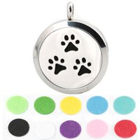 aromatherapy pets - 1pcs magnet mm cute pet dog pew Aromatherapy Essential Oil surgical Stainless Steel Perfume Diffuser Locket Necklace with chain and pads