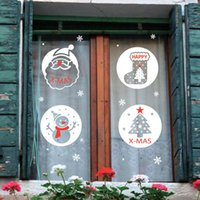 Wholesale Christmas window decorations Seamless non adhesive electrostatic wall stickers double sided color snowman window stickers clothing store