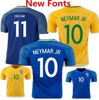 Wholesale New Brazil soccer jersey NEYMAR JR home away PELE OSCAR D COSTA DAVID LUIZ top quality Brazil football shirt soccer jersey