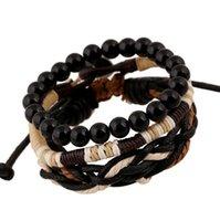 Cheap 3 Pcs Set Fashion Retro Wooden Beads Braided Leather Bracelets Suit Beaded Handmade Ropes Charms Bracelet Wholesale Free Shipping
