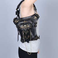 bags online - Gothic Womens Skeleton Shoulder Bags Steampunk Style Crossbody Bags Best Quality Vintage Leather Waist Bags Online B1