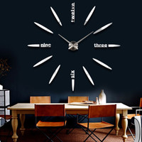 Wholesale 2016 new home decor living room quartz modern wall clock fashion diy mirror stickes watch large decorative clocks
