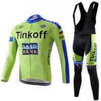 best thermal pants - Best Selling Tinkoff Saxo Bank Cycling Jerseys Green Color Long Sleeves Winter Thermal Fleece For Men With Padded Gel Pants Size XS XL