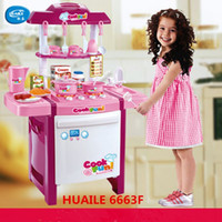 Wholesale New Arrival Kids simulation kitchen toys Children play toys baby kitchen toys set with light sound pink and red baby gifts
