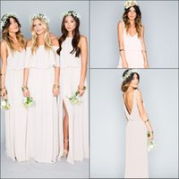 Wholesale 2016 New Chiffon Mumu Wedding Party Long Bridesmaid Dresses Ruffles Split Floor Length Summer Beach Prom Dresses