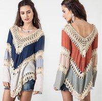 Wholesale Summer NEW Womens Beach Cover Up Dresses Crochet Bikini Long Sleeve Swimwear Bathing Suit Cover Ups Beach Tunic Top