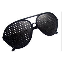 Wholesale Black Unisex Vision Care Pin hole Eyeglasses pinhole Glasses Eye Exercise Eyesight Improve plastic Retail