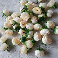 artificial christmas wreath - Artificial Silk Flower Heads Floral Head Wreath Rose For Wedding Decoration DIY Bridal Bouquet Wrist Flowers Door Wreath