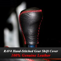 Wholesale 2014 Toyota RAV4 RAV Car Gear Shift Knob Cover Genuine Leather Car Special Hand stitched Black Leather Covers Car Accessories