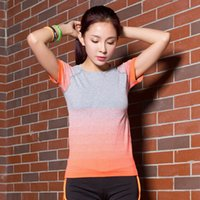 Wholesale 2016 Hot Women Collar Outdoor Sports Casual Blouse Fast dry T shirt Graded Color Running Gym Short Fitness Tee Top Gym