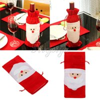 Wholesale 1 Piece Santa Claus Red Wine Bottle Cover Bags Candy Gift Bags for Christmas Party Hotel Bar Dinner Table Decoration