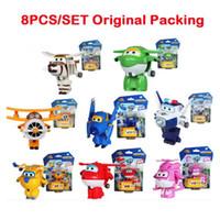 auldey toys - 8PCS Set AULDEY Super Wings Mini Airplane ABS Robot toys Action Figures Super Wing Transformation Jet Cartoon Children Kids Gift