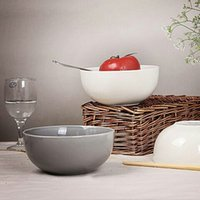 Wholesale 6 inch Beige ceramic salad bowl grey soup tableware of high quality simple and retro tableware