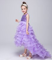 Wholesale Flower Girl s Dresses Lace summer Long Sleeves Lace Sheer Neckline Floor Length For Wedding party Birthday Kid s Dresses colors