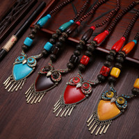 Wholesale Tibet Amorous Feelings Necklace Pendants Handmade Imitate Beeswax Turquoise Tibetan Silver Amber Wooden Beads Sweater Chain