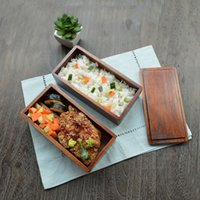 Wholesale Luxury Portable Double Layer Quadrate Wooden Lunch Box Sushi Bento Box picnic outing Wood Food Bowls Size cm