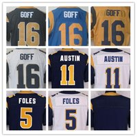 austin red - NIK Elite Football Stitched Rams Goff AUSTIN Foles Blank White Light Blue Gold Jerseys Mix Order
