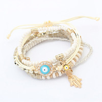 bead strands - Beads Bracelets Jewelry Fashion Women Bohemia Colorful Resin Beads Alloy Hand Eye Charm Bracelets Piece Set BR449