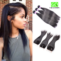 Wholesale Brazilian Straight Hair Weft With Closure a Mink Brazilian Hair Bundles With Lace Closure Brazilian Human Hair With Closure Dyeable