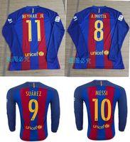 barcelona sleeves - 2016 Thailand quality Long sleeve Barcelona jerseys SUAREZ MESSI NEYMAR JR jerseys