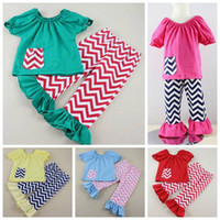 Wholesale baby chevron clothing sets kids pocket tops t shirts ruffle pants girls boutique outfits childrens summer clothes toddler suit