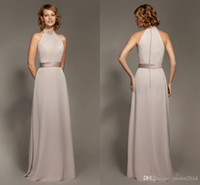 Wholesale Simple Halter Satin Chiffon Sheath Bridesmaid Dresses Cheap Sleeveless Backless Floor length Formal Dresses Covered Buttons L0973