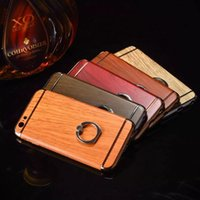 apple wood for sale - hot sale cell phone case electroplating frame wood pattern ring stand pc crystal hard case for iphone plus