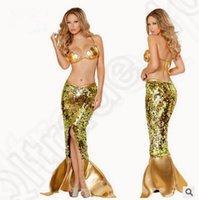 adult mermaid costumes - LJJK182 Mermaid Fish Tail Girls Women Adult Bed Swimming Sexy Golden Bra Dress lingerie Uniform Nightwear Babydoll Sleepwear sets