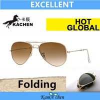 Wholesale KaChen folding green Lens Black Silver Gun Black Frame PILOT UV400 protection sunglasses glasses mm mm men women