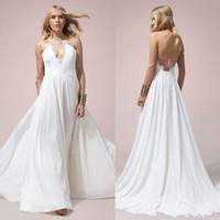 halter top wedding dress - 2016 Halter Neck Wedding Dress China Lace Top Bridal Gowns Criss Cross Back Boho Wedding Gowns Sweep Train Chiffon Bohemian A Line Dresses