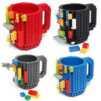 Wholesale 12oz DIY Block Puzzle Mug Drinkware Building Blocks Mugs Piece Build On Brick Creative Mug Coffee Cup by DHL