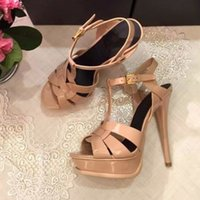 Cheap 8 Colors Classical Tribute Patent-Leather Sandals Summer Platform Shoes Woman Open Toe Stiletto High Heels Intertwining Straps
