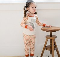 Wholesale Cartoon Korean Children Clothing Sets New Autumn Kids Outfits Girl Pajamas Set Squirrel Printed Long Sleeve Tops Long Pants