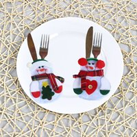 Wholesale Hot Christmas Snowman bags Cutlery creative home gift table tableware set jewelry can be customized to map