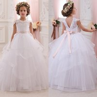Bouquet beads tires - Hot Pretty Custom White Lace Flower Girl Dresses With Belt Tired Tulle Floor Length Girls Ball Gown Tutu First Communion Dress